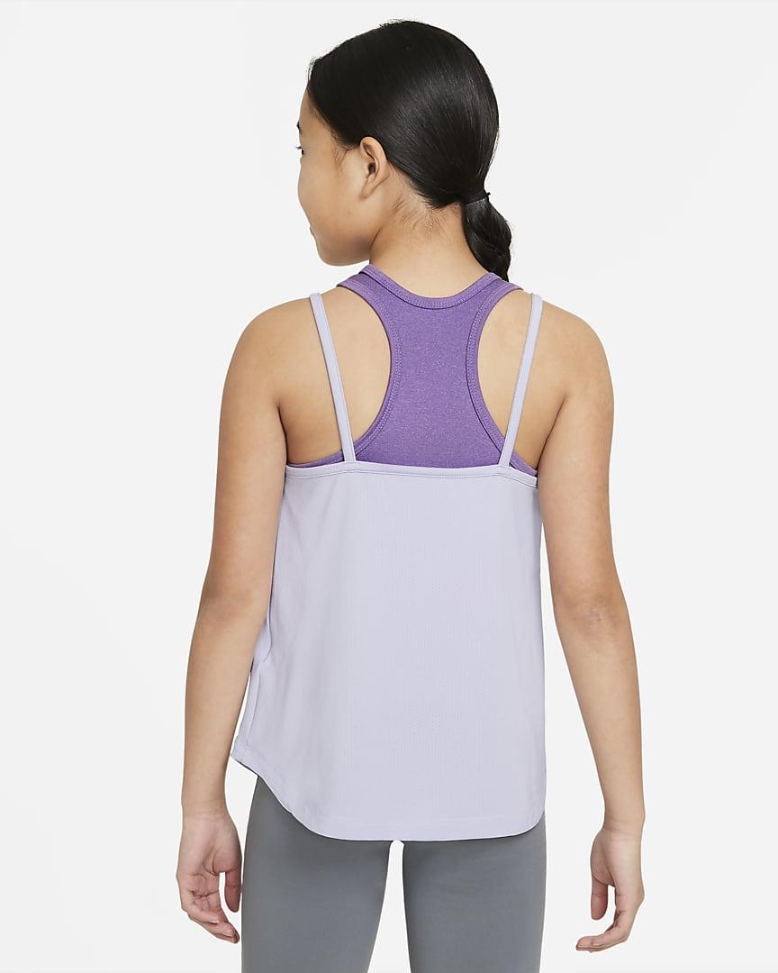 Nike Dri-FIT Big Kids\' (Girls\') 2-in-1 Training Tank Purple Chalk/Wild Berry/Purple Chalk