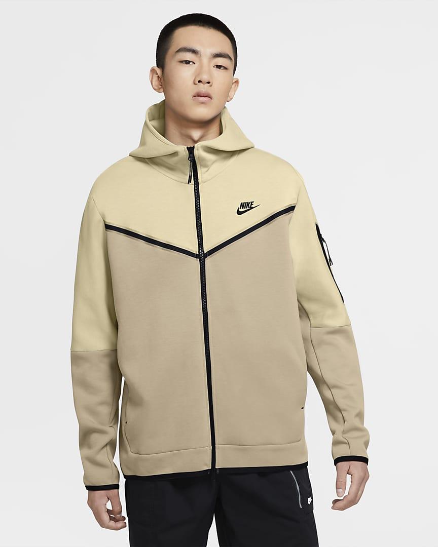 Nike Sportswear Tech Fleece Men\'s Full-Zip Hoodie Beach/Grain/Black