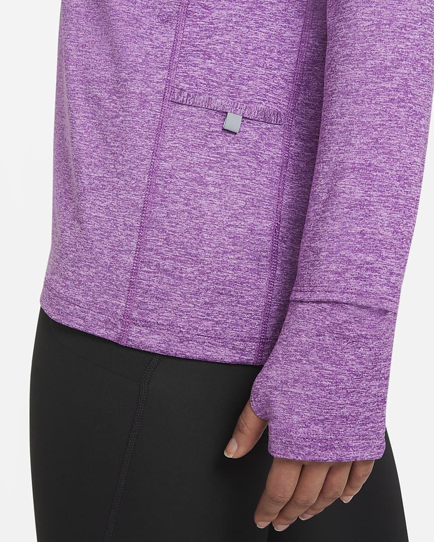 Nike Element Women\'s 1/2-Zip Running Top Fuchsia Glow/Purple Nebula/Heather