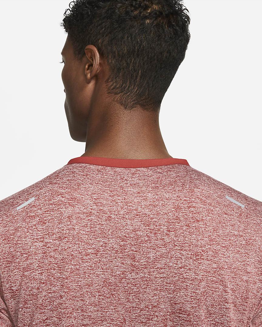 Nike Dri-FIT Rise 365 Men\'s Short-Sleeve Running Top Dark Cayenne/Heather