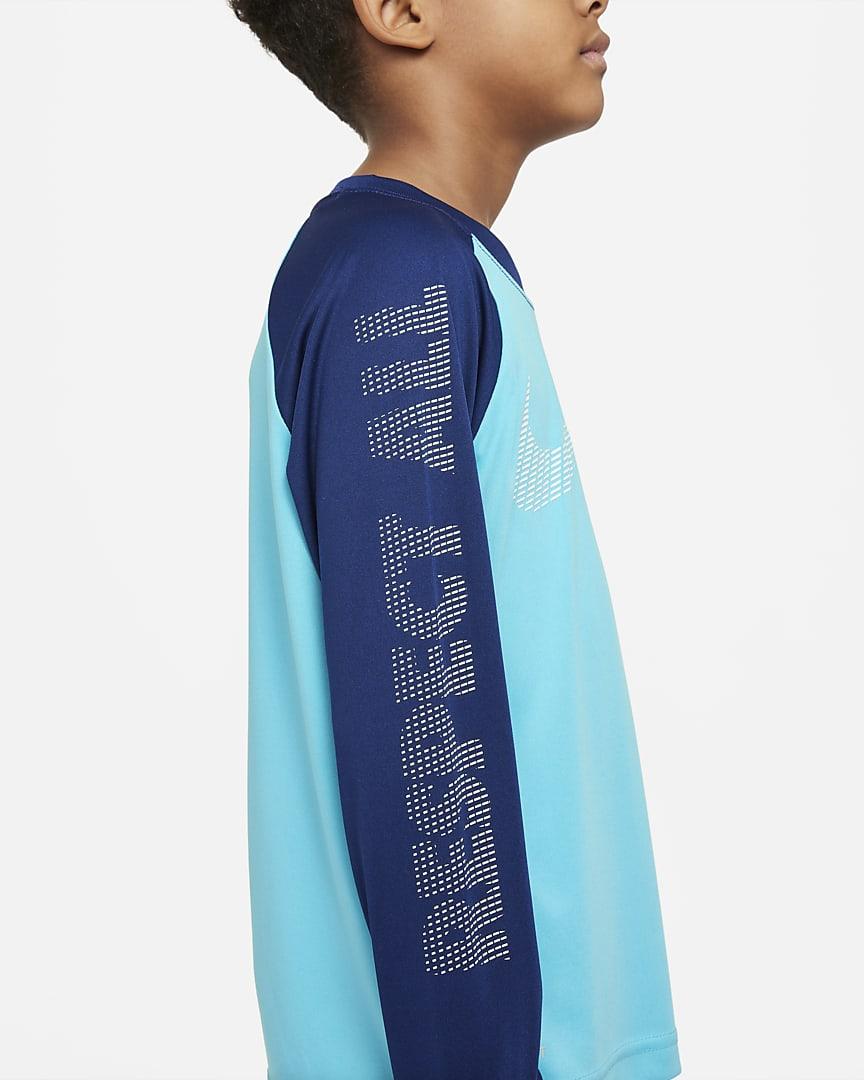 Nike Dri-FIT Little Kids\' Long-Sleeve T-Shirt Chlorine Blue