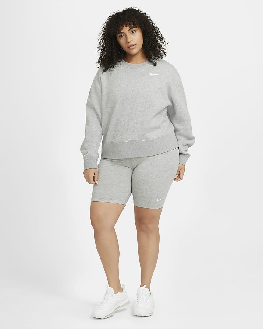 Nike Sportswear Essential Women\'s Mid-Rise Bike Shorts (Plus Size) Dark Grey Heather/White