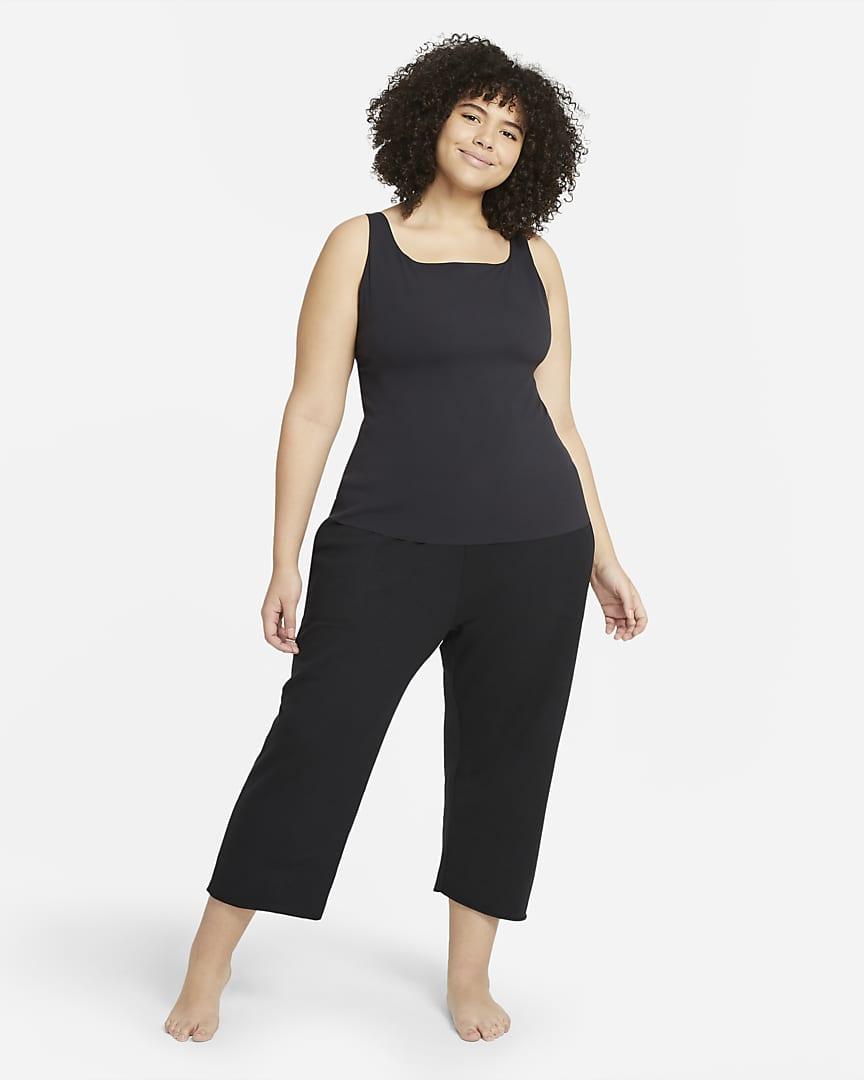Nike Yoga Luxe Women\'s Cropped Fleece Pants (Plus Size) Black/Dark Smoke Grey