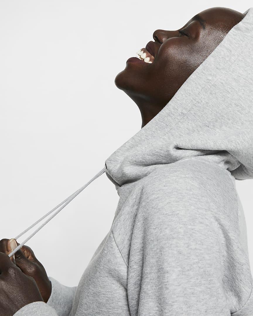Nike Sportswear Essential Women\'s Fleece Pullover Hoodie Dark Grey Heather/Matte Silver/White