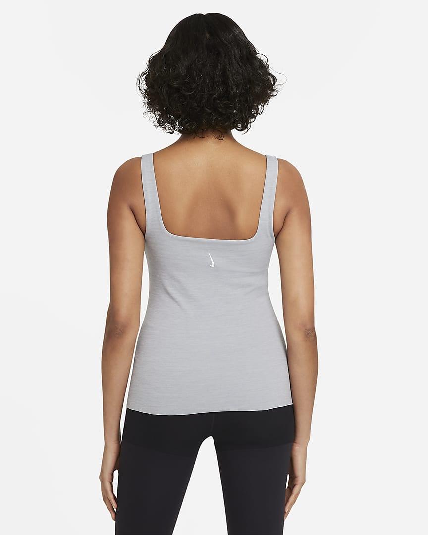 Nike Yoga Luxe Women\'s Shelf-Bra Tank Particle Grey/Heather/Platinum Tint