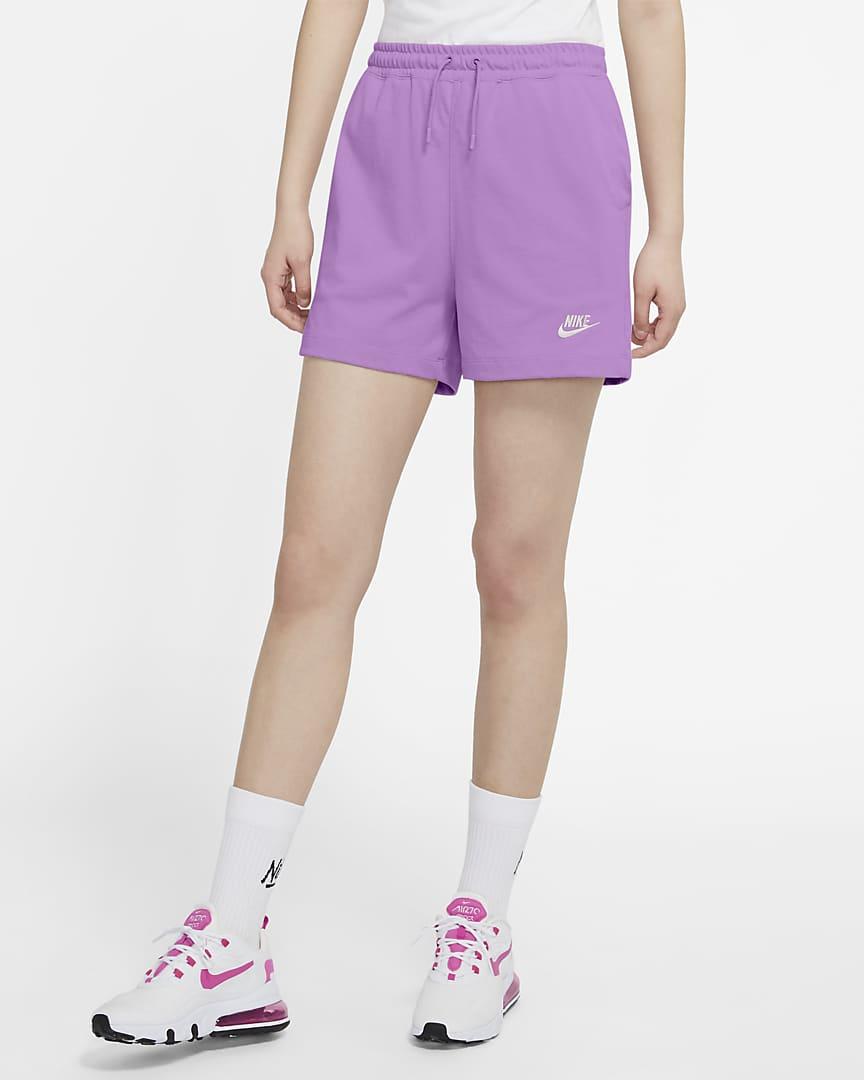 Nike Sportswear Women\'s Jersey Shorts Violet Shock/White