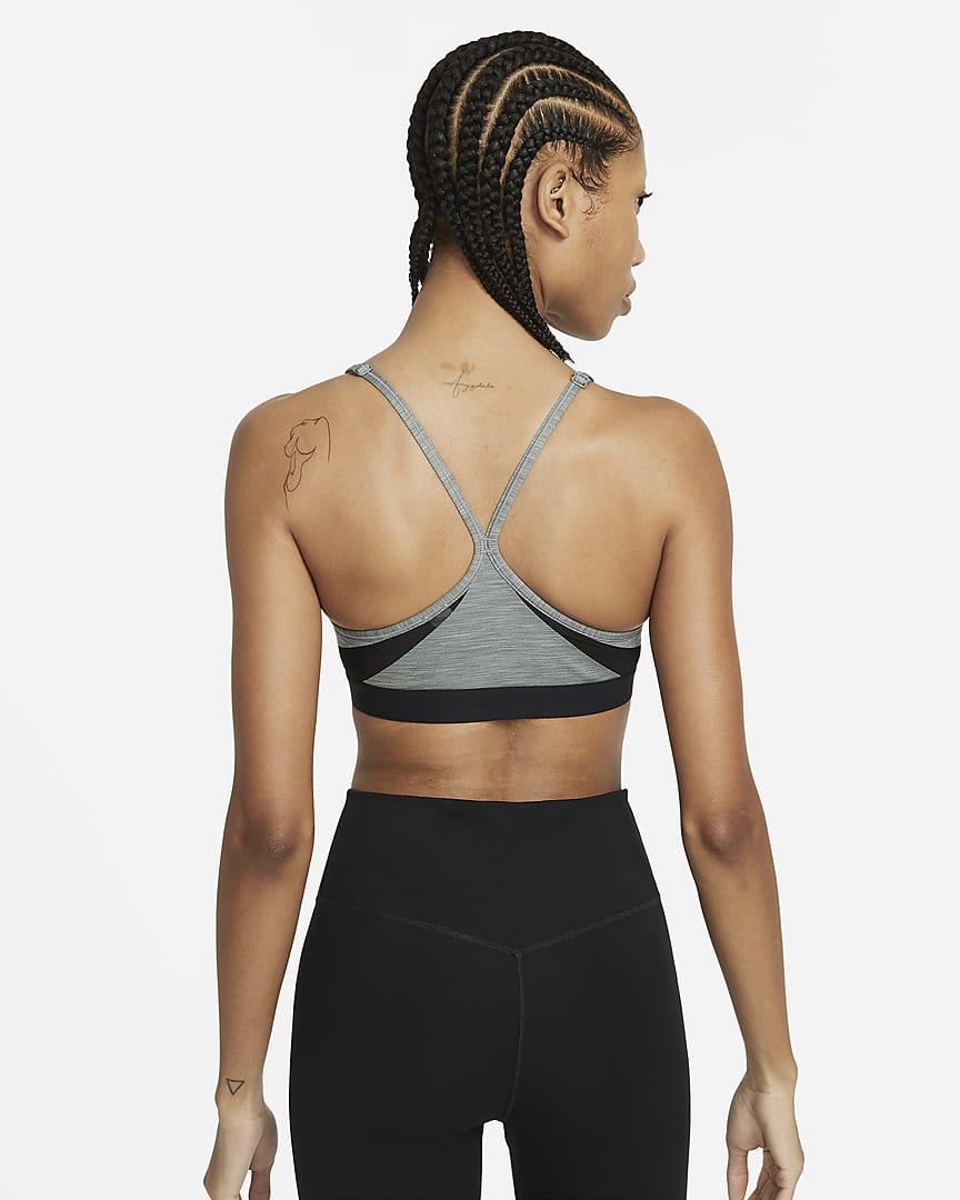 Nike Dri-FIT Indy Women\'s Light-Support Padded V-Neck Sports Bra Smoke Grey/Pure/Black/White