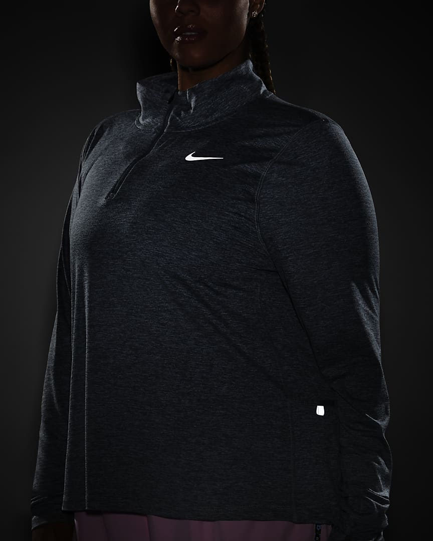 Nike Element Women\'s 1/2-Zip Running Top (Plus Size) Smoke Grey/Light Smoke Grey/Heather