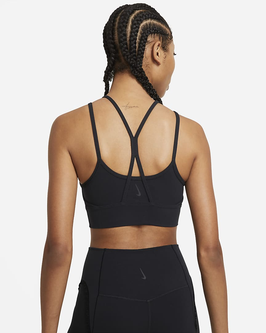 Nike Yoga Dri-FIT Indy Women\'s Light-Support Padded Longline Sports Bra Black/Black/Dark Smoke Grey