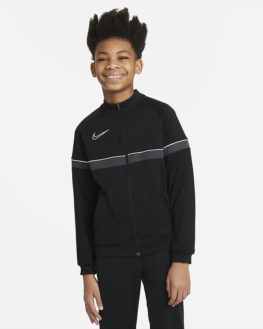 Nike Dri-FIT Academy Big Kids\' Knit Soccer Track Jacket Black/White/Anthracite/White
