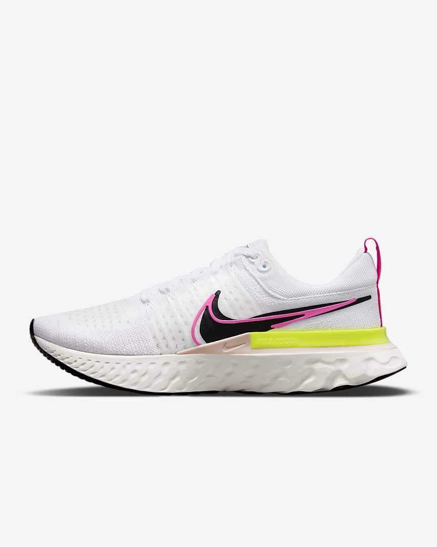 Nike React Infinity Run Flyknit 2 Men\'s Road Running Shoes White/Sail/Pink Blast/Black