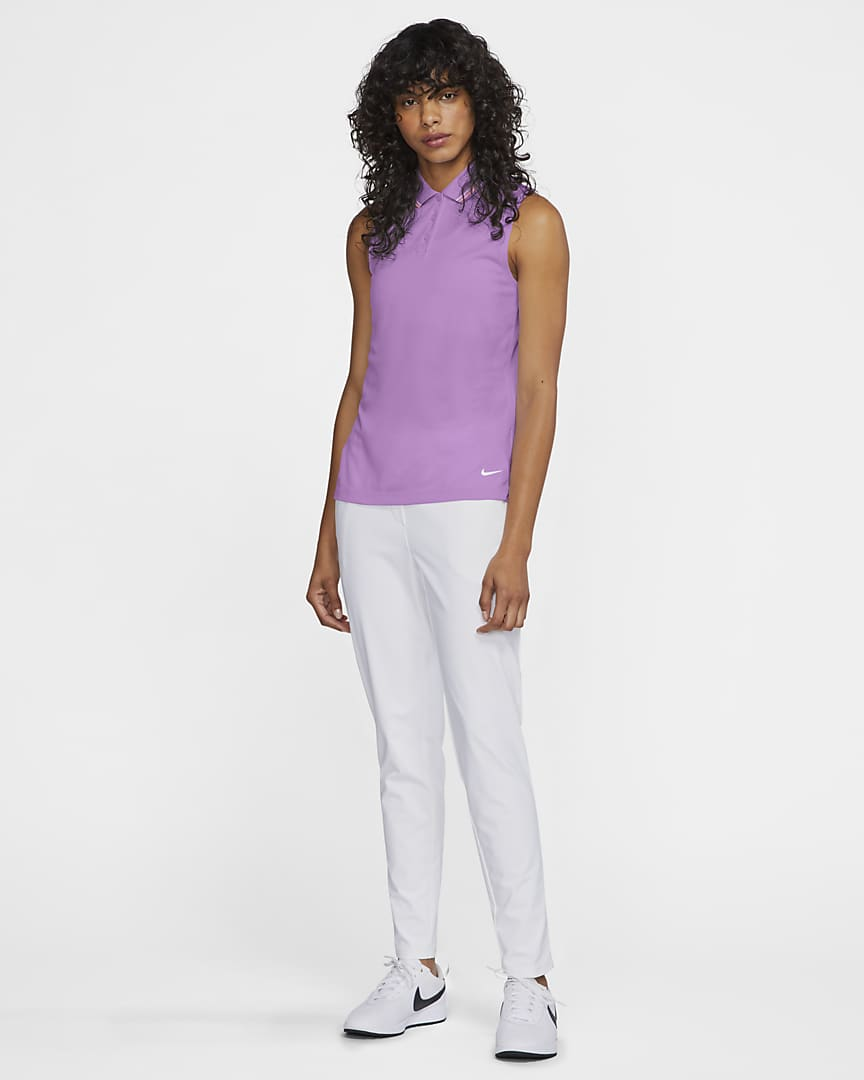Nike Dri-FIT Victory Women's Sleeveless Golf Polo Violet Shock/Bright Mango/White