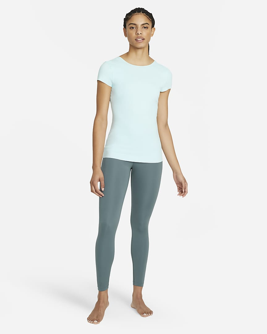 Nike Yoga Luxe Women\'s Short Sleeve Top Teal Tint/Barely Green