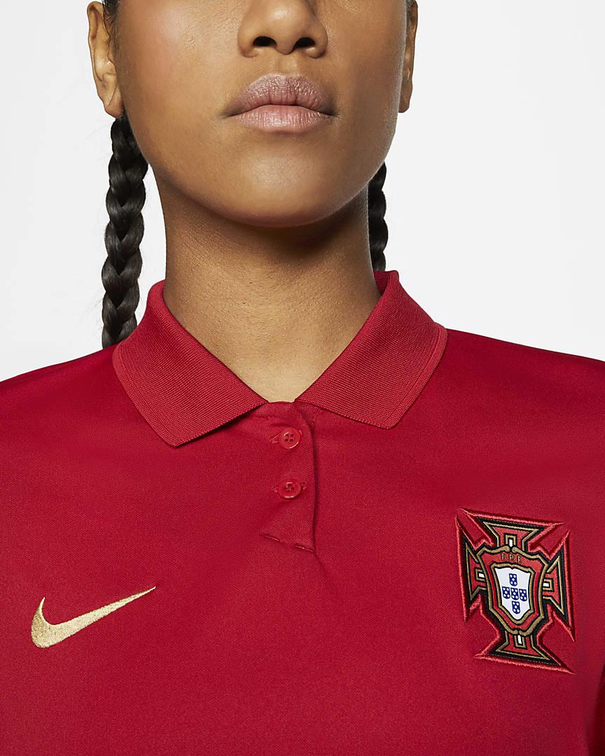 Portugal 2020 Stadium Home Women\'s Soccer Jersey Gym Red/Metallic Gold