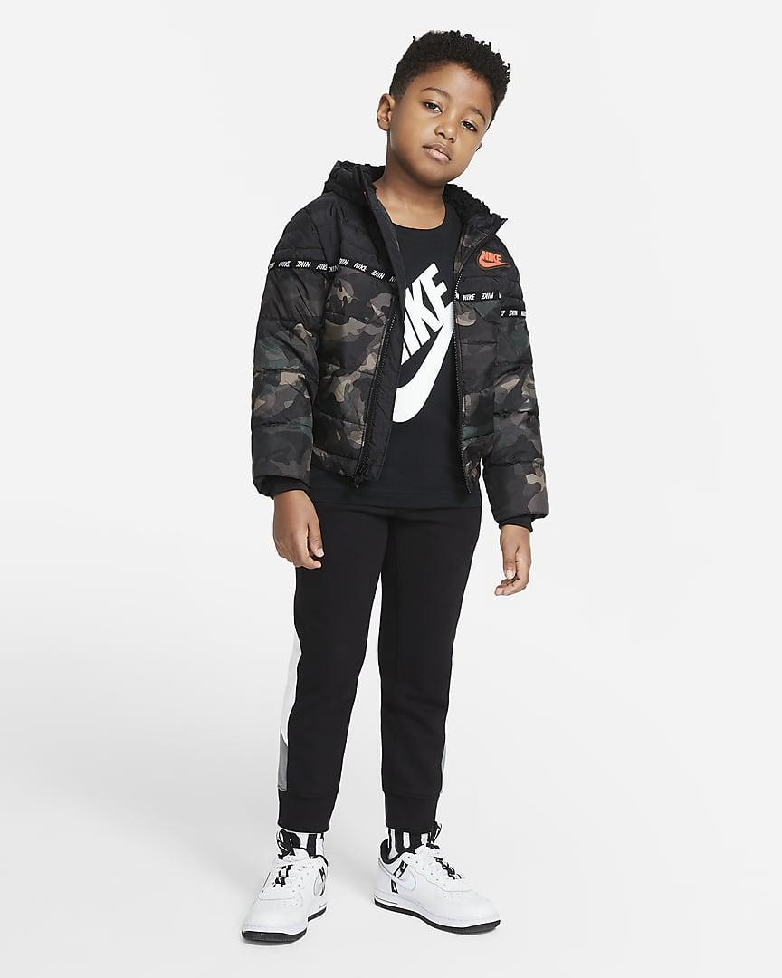 Nike Sportswear Little Kids\' Puffer Jacket Camo Green/Army Olive