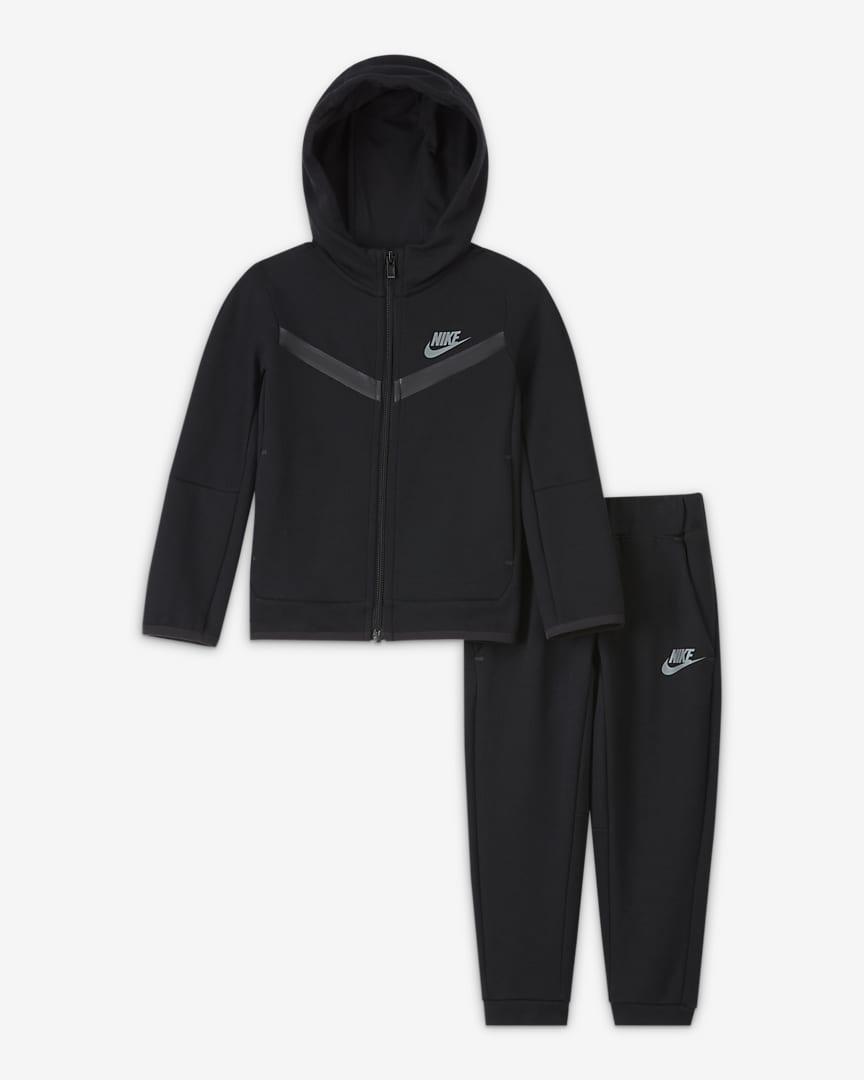 Nike Sportswear Tech Fleece Toddler Zip Hoodie and Pants Set Black