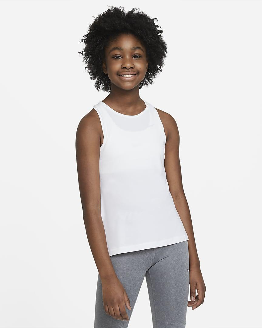 Nike Pro Big Kids\' (Girls\') Tank White/Pure Platinum
