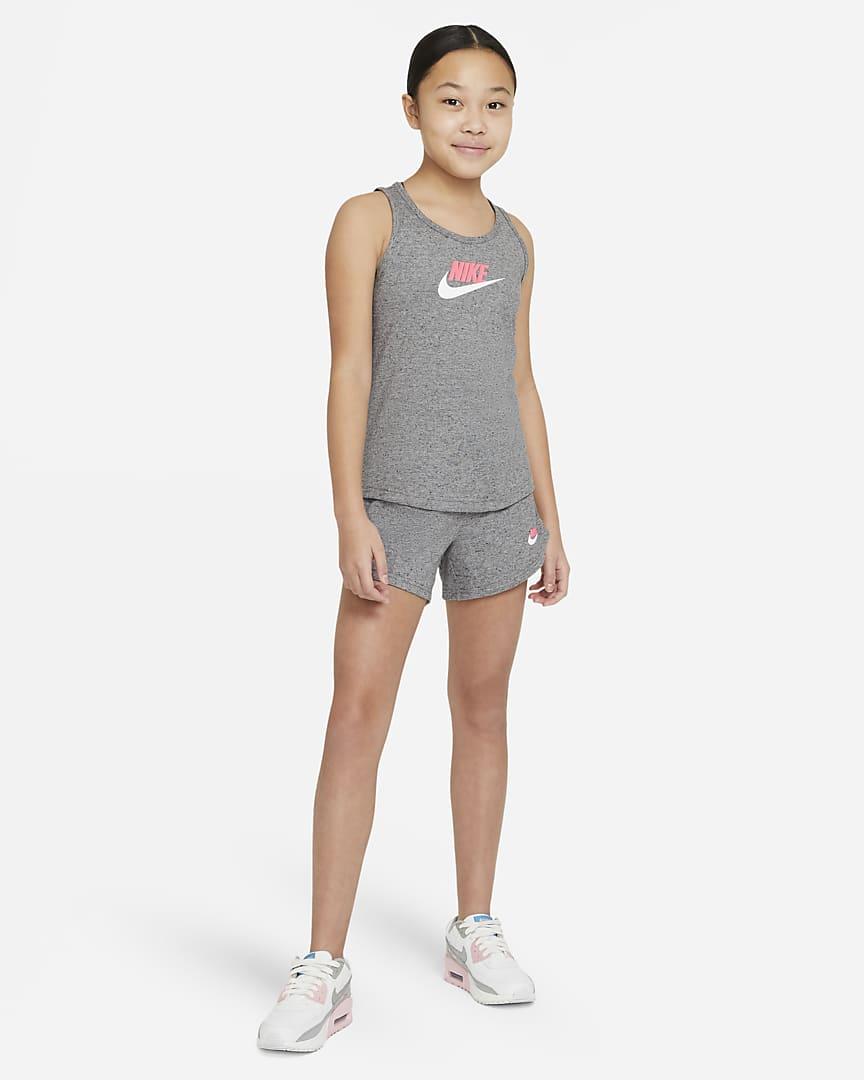 Nike Sportswear Big Kids\' (Girls\') Jersey Tank Carbon Heather/Sunset Pulse