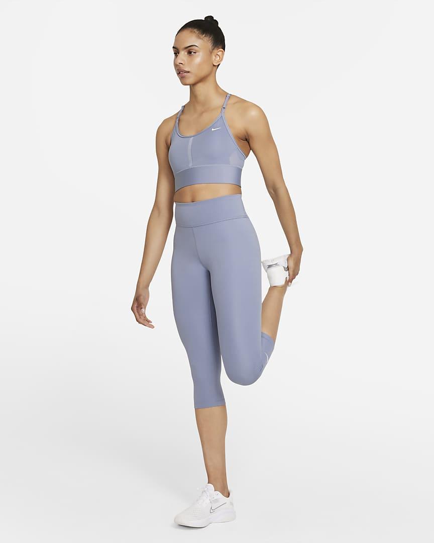 Nike Dri-FIT Indy Women\'s Light-Support Padded Longline Sports Bra Ashen Slate/White