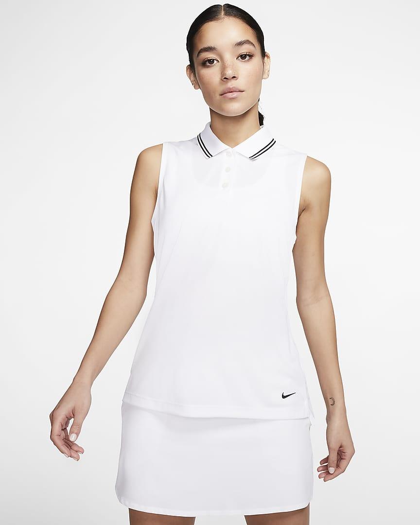 Nike Dri-FIT Victory Women's Sleeveless Golf Polo White/Black/Black