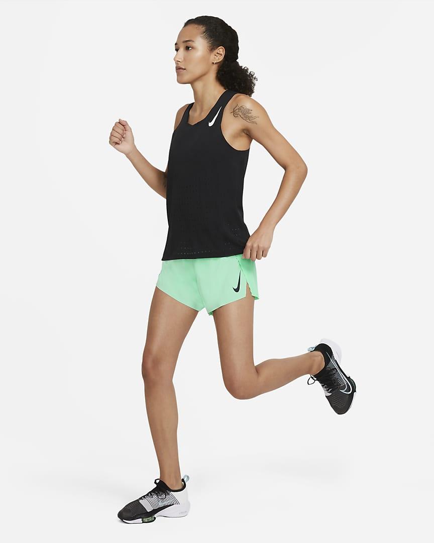 Nike AeroSwift Women\'s Running Shorts Green Glow/Black