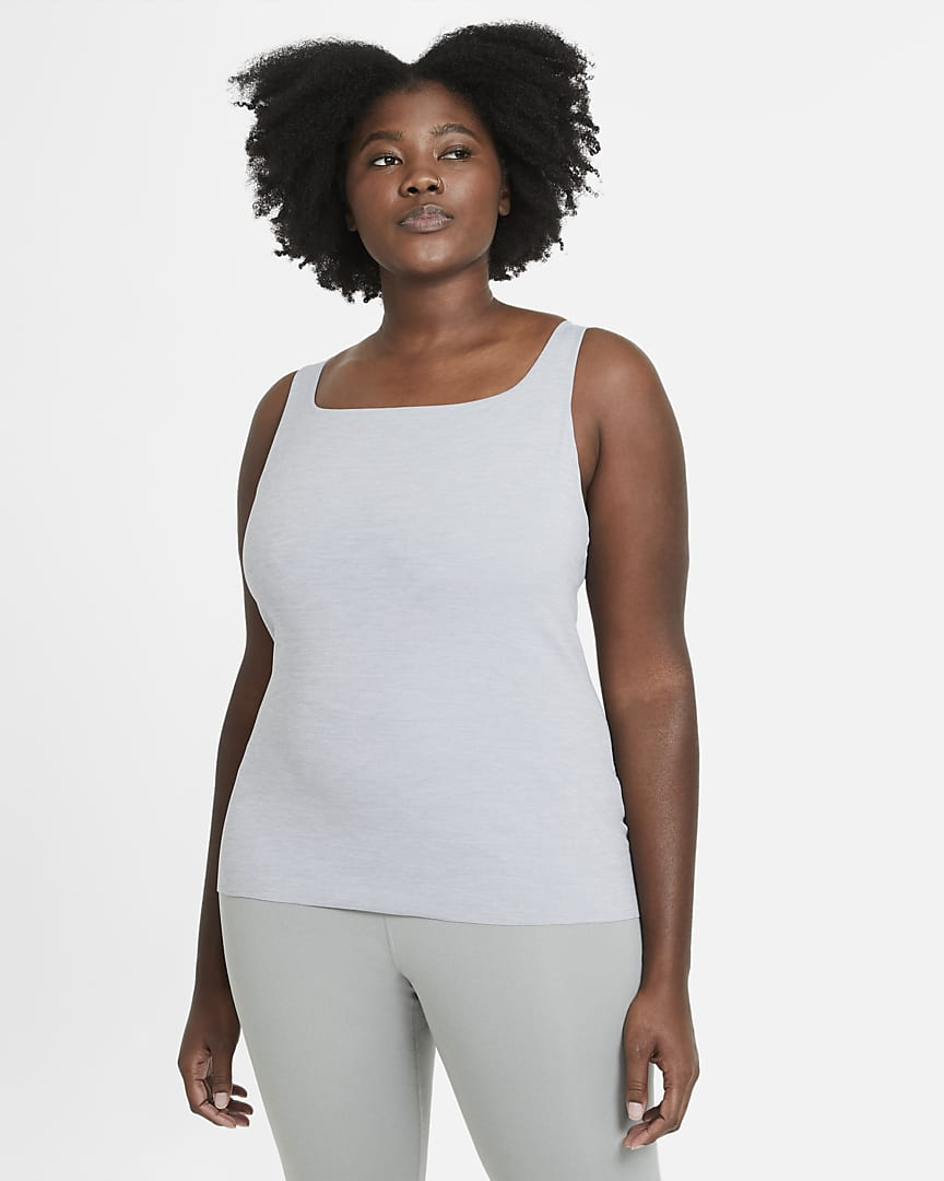 Nike Yoga Luxe Women\'s Shelf-Bra Tank (Plus Size) Particle Grey/Heather/Platinum Tint