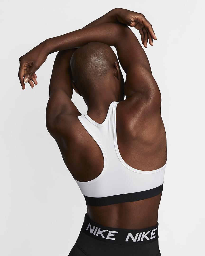 Nike Dri-FIT Swoosh Women\'s Medium-Support Non-Padded Sports Bra White/Black/Black