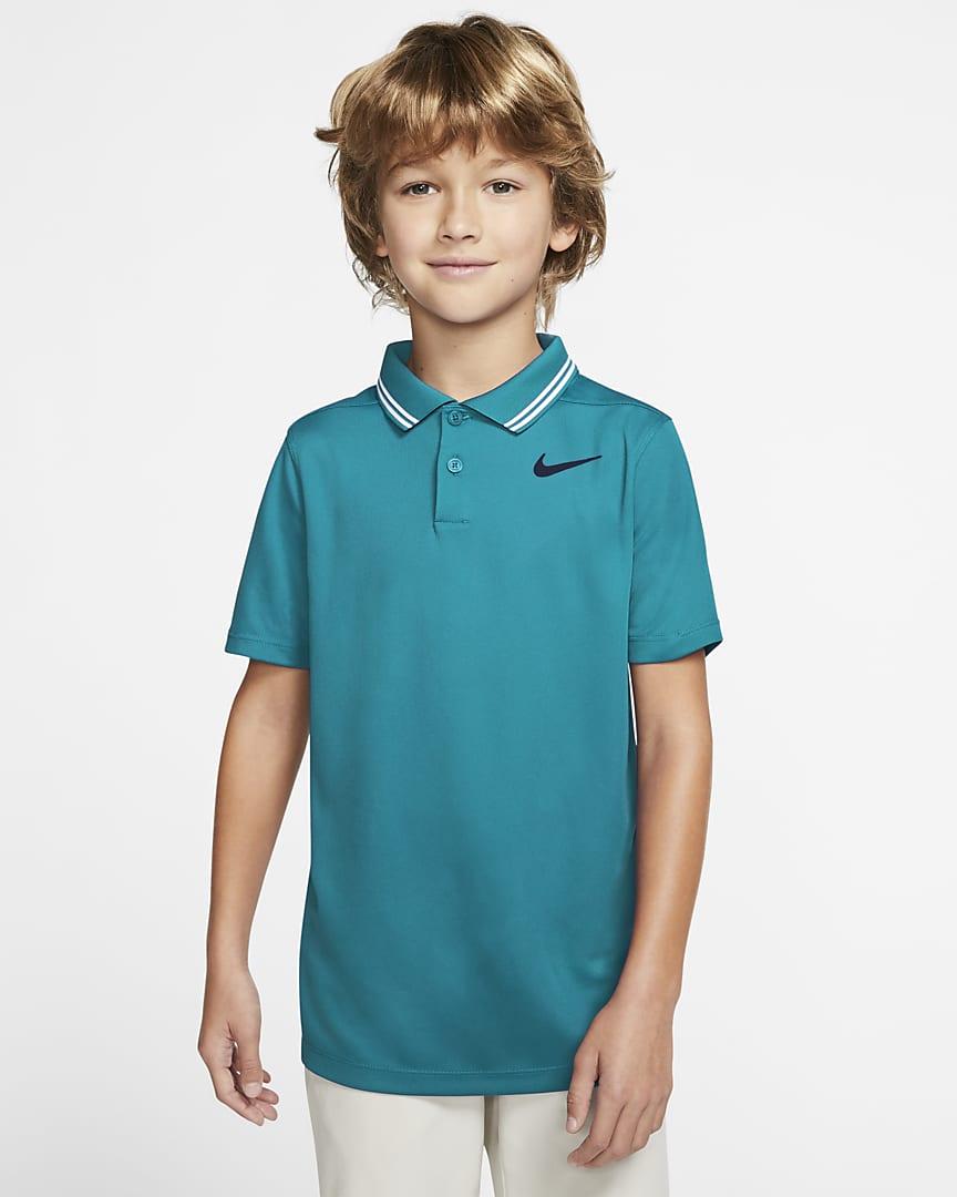 Nike Dri-FIT Victory Boys' Golf Polo Aquamarine/Obsidian