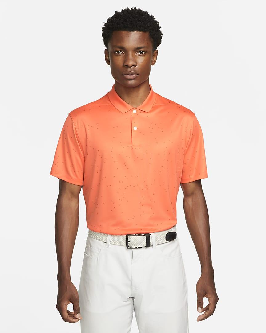 Nike Dri-FIT Victory Men\'s Printed Golf Polo Turf Orange/White