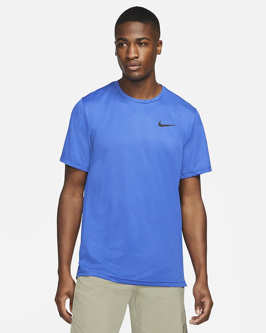 Nike Pro Dri-FIT Men\'s Short-Sleeve Top Blue Void/Game Royal/Heather/Black