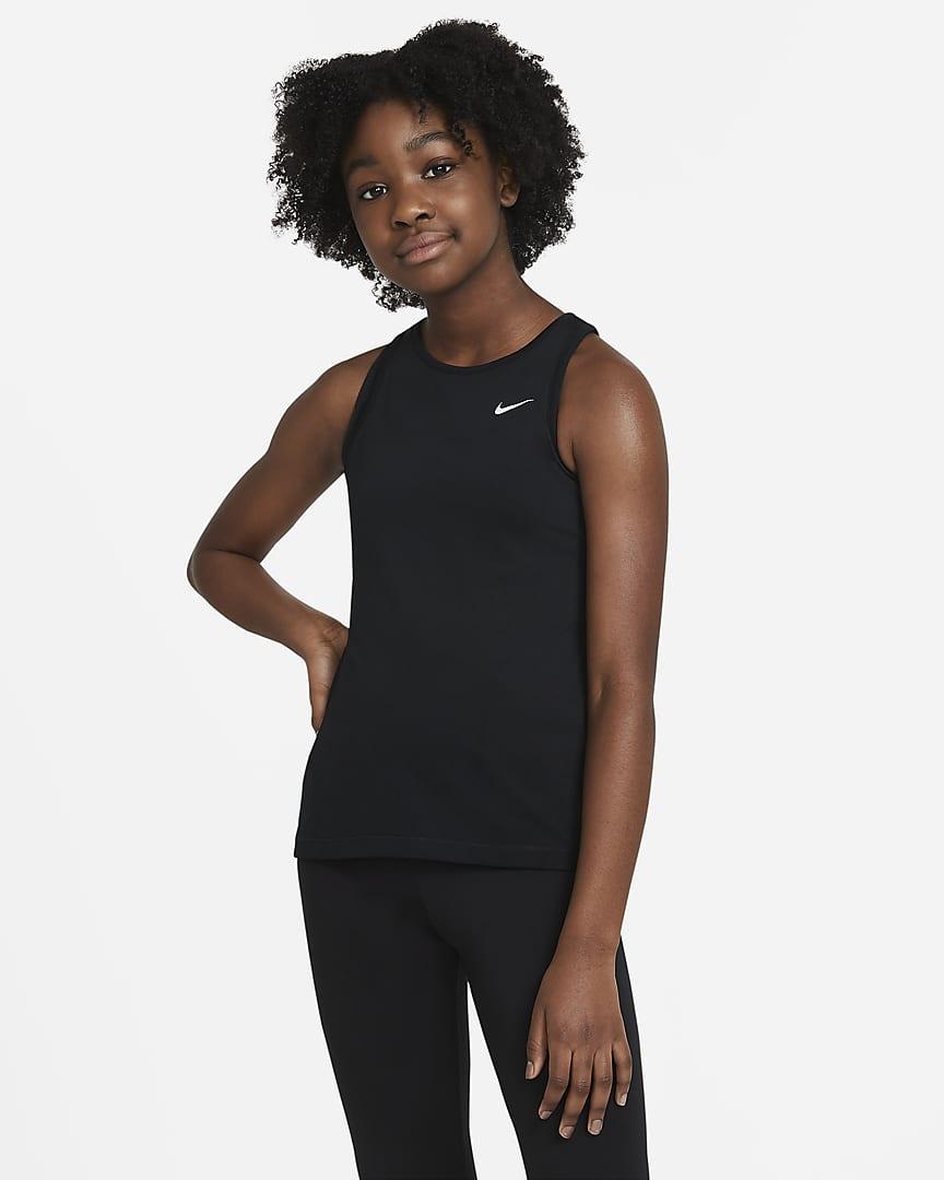 Nike Pro Big Kids\' (Girls\') Tank Black/White