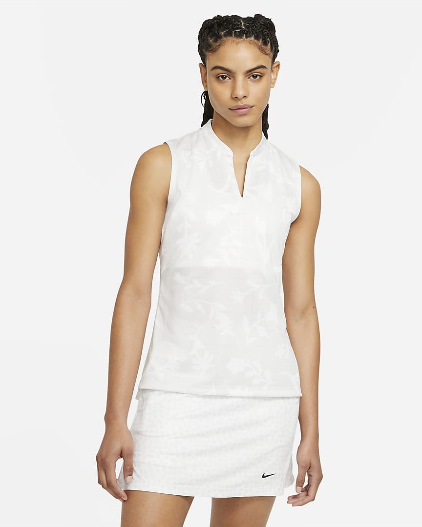 Nike Breathe Women\'s Sleeveless Printed Golf Polo Photon Dust/White