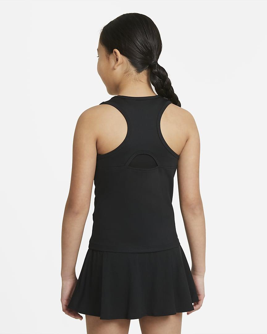 NikeCourt Dri-FIT Victory Big Kids\' (Girls\') Tennis Tank Black/White