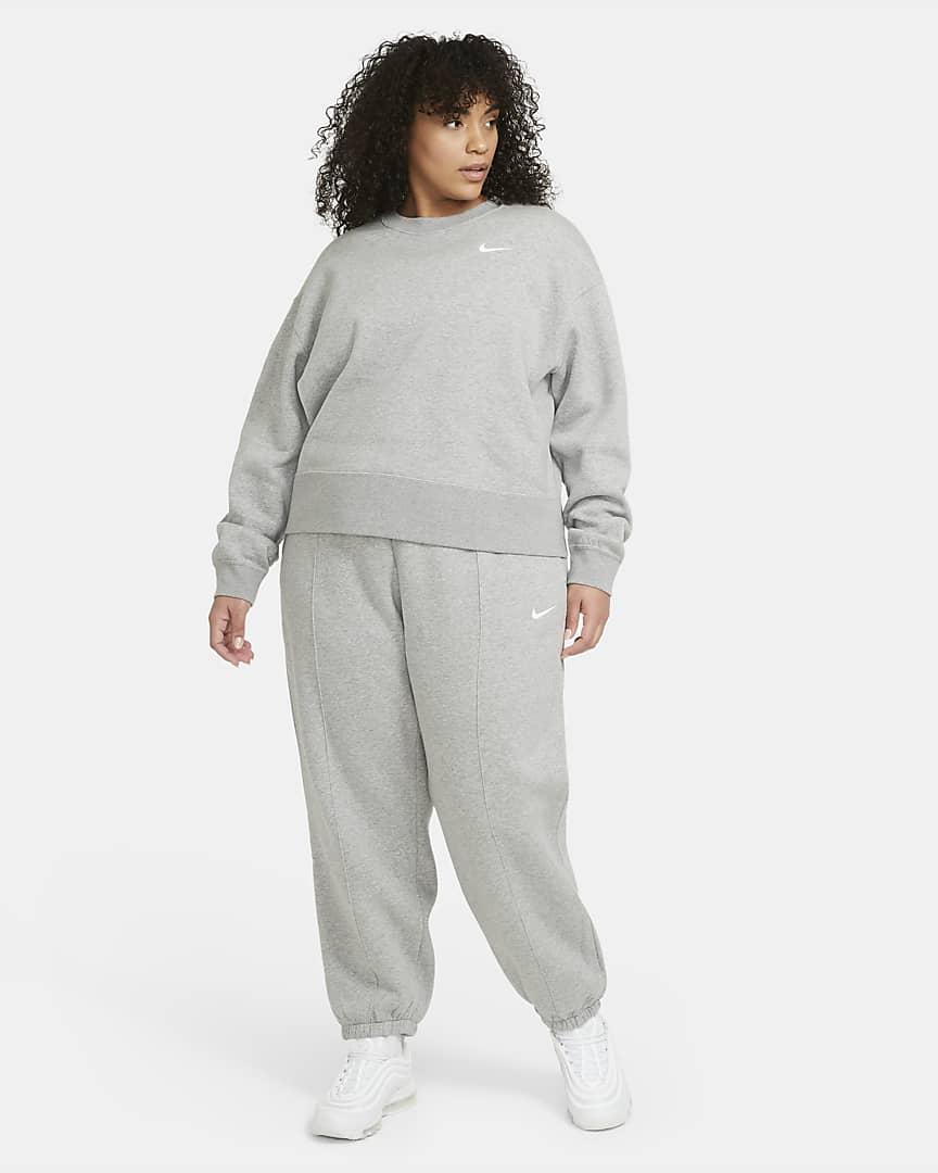 Nike Sportswear Trend Women\'s Fleece Pants (Plus Size) Dark Grey Heather/Matte Silver/White