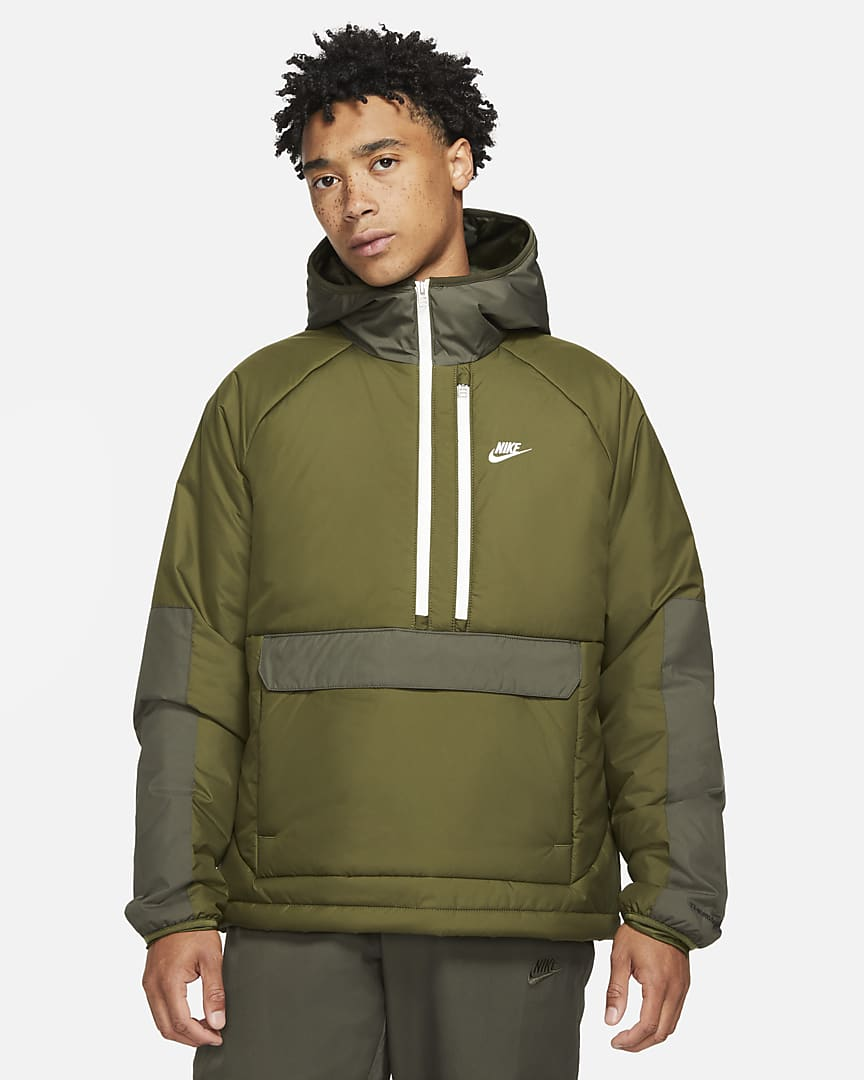 Nike Sportswear Therma-FIT Legacy Men\'s Hooded Anorak Rough Green/Sequoia/Sail