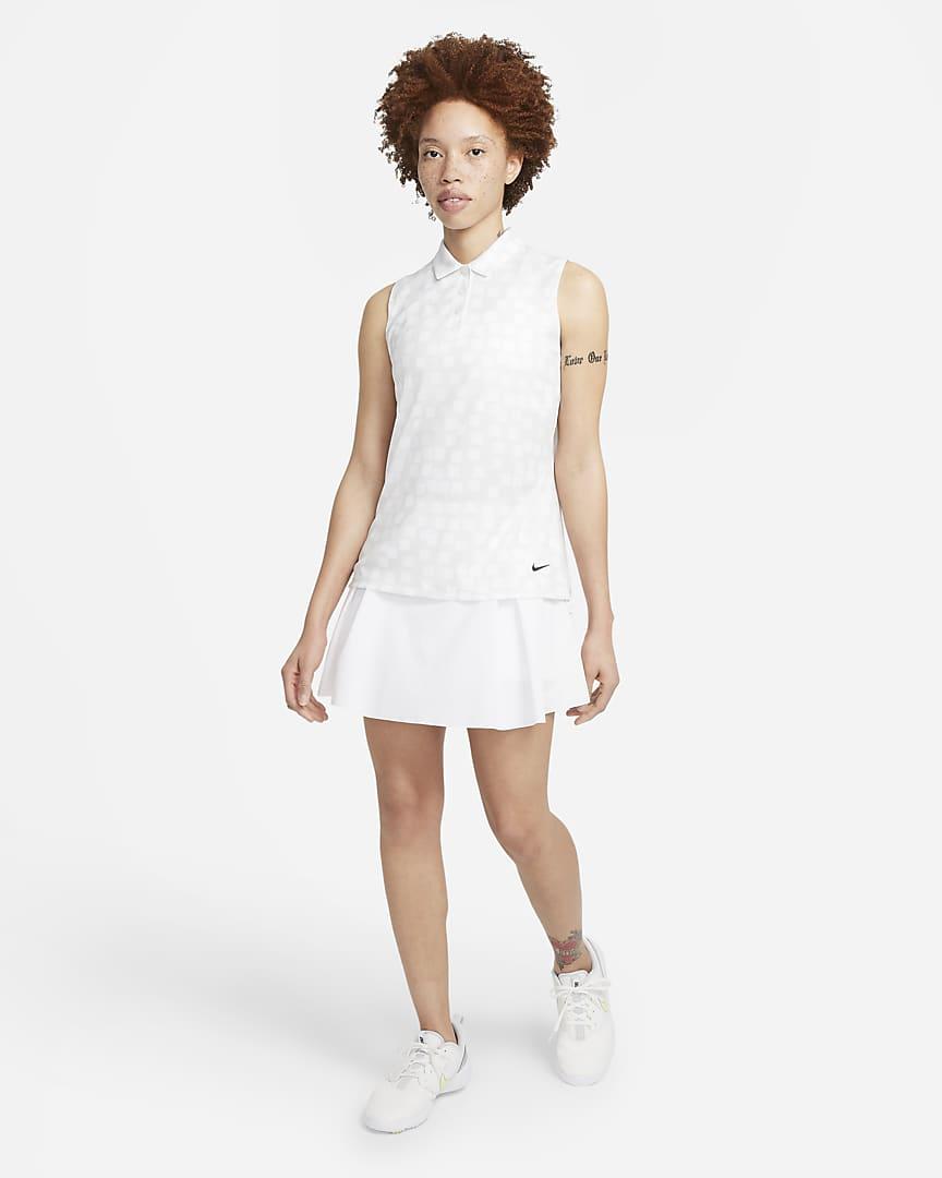 Nike Dri-FIT Women\'s Sleeveless Printed Golf Polo Photon Dust/Black