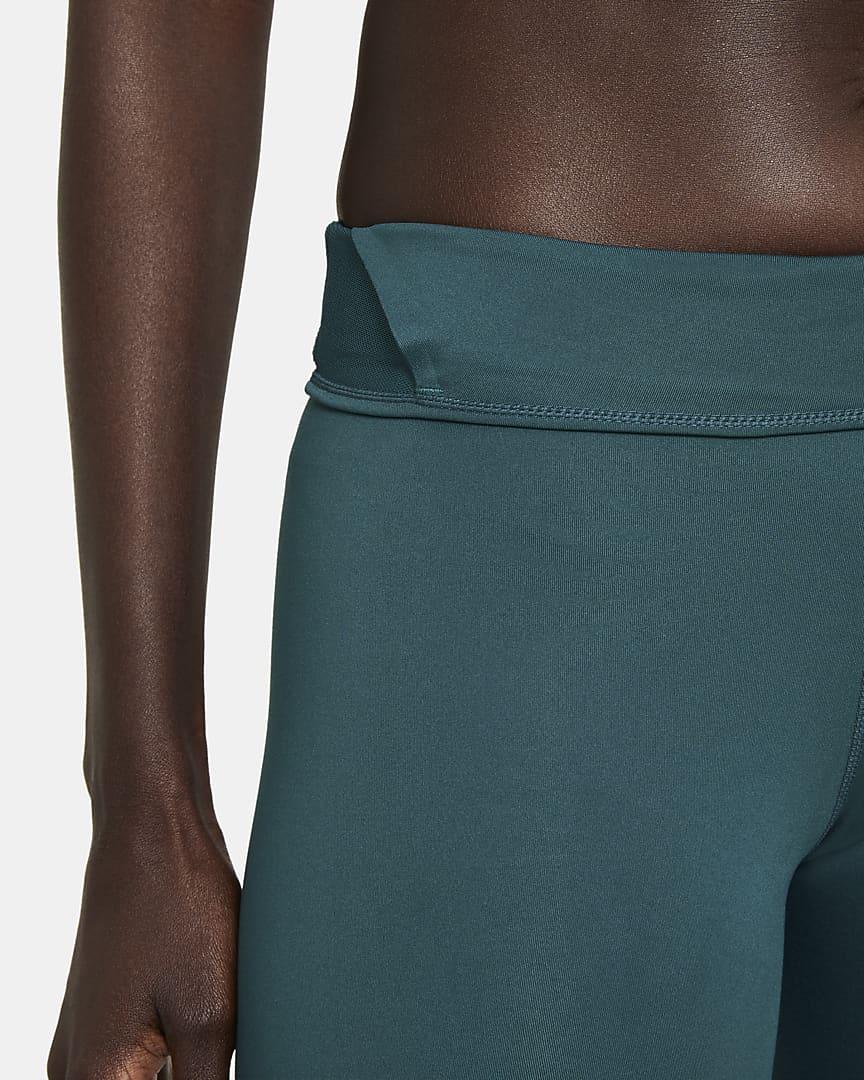 Nike One Luxe Women\'s Mid-Rise 7/8 Leggings Dark Teal Green/Clear
