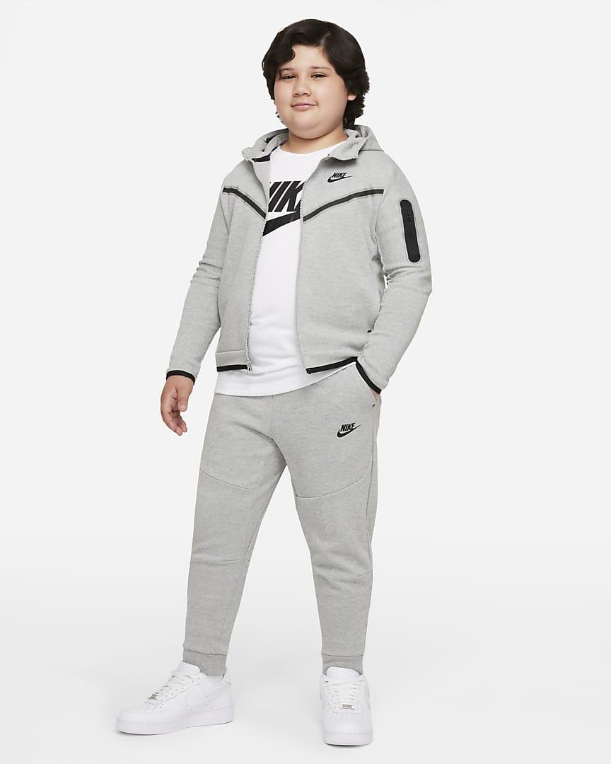 Nike Sportswear Tech Fleece Big Kids\' (Boys\') Pants (Extended Size) Dark Grey Heather/Black