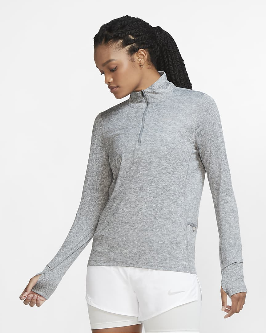 Nike Element Women\'s 1/2-Zip Running Top Smoke Grey/Light Smoke Grey/Heather