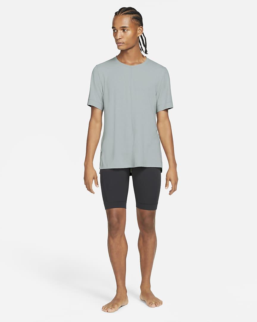 Nike Yoga Dri-FIT Men\'s Short-Sleeve Top Light Smoke Grey/White/Black