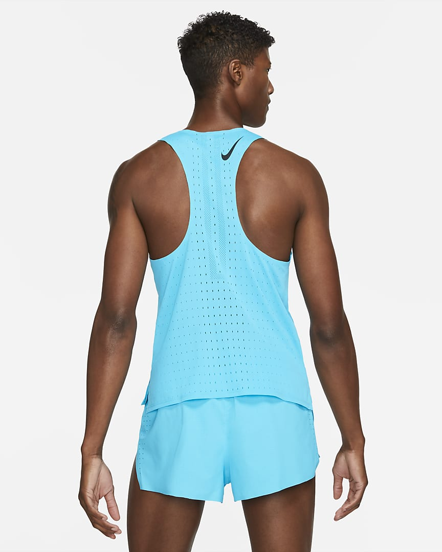 Nike AeroSwift Men\'s Running Singlet Chlorine Blue/Black