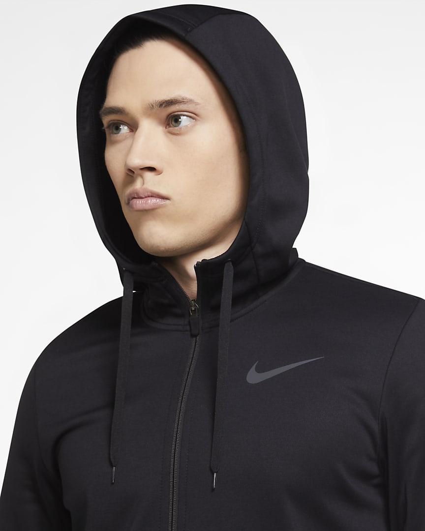 Nike Therma Men\'s Full-Zip Training Hoodie Black/Black