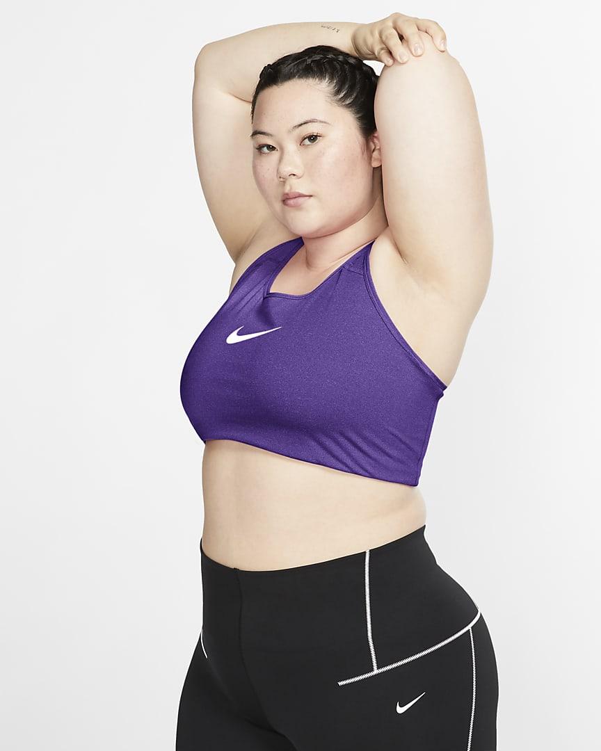 Nike Swoosh Women\'s Medium-Support Non-Padded Sports Bra (Plus Size) Wild Berry/White