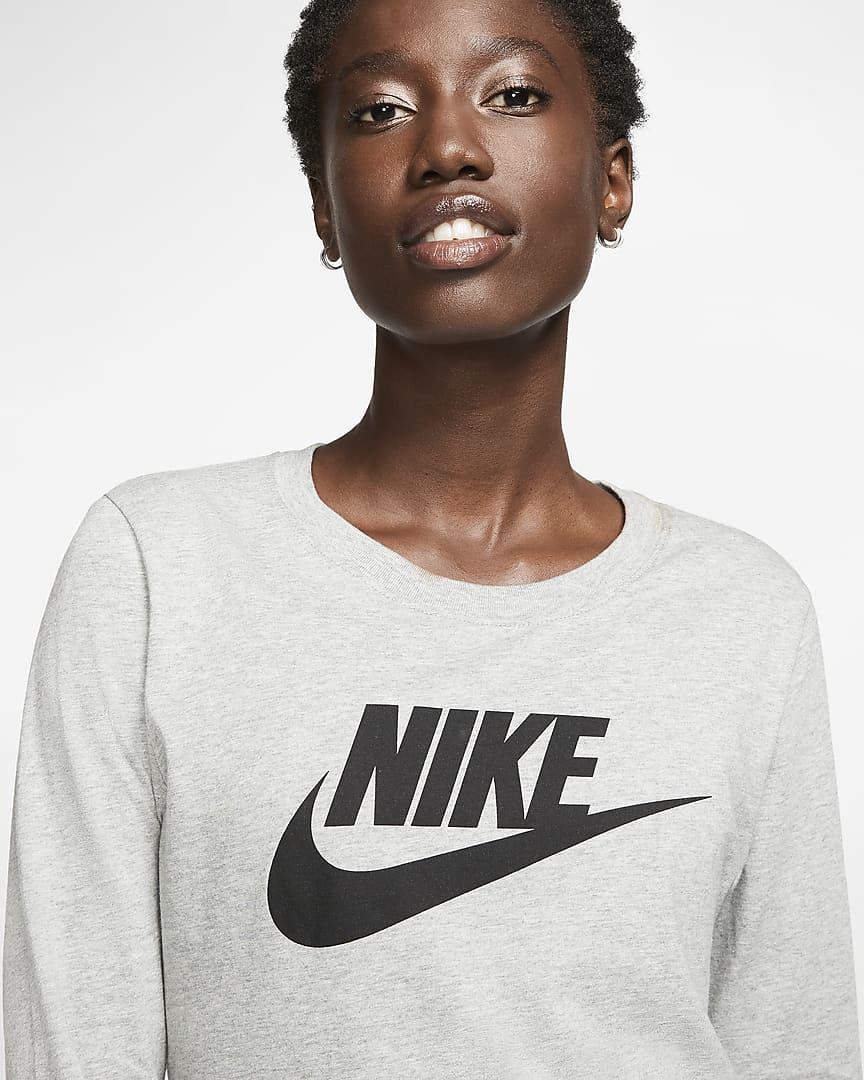 Nike Sportswear Women\'s Long-Sleeve T-Shirt Dark Grey Heather/Black