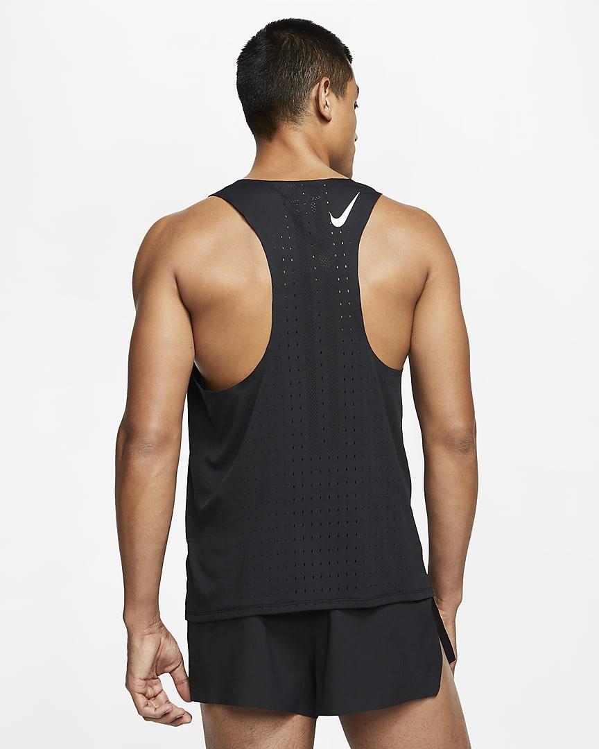 Nike AeroSwift Men\'s Running Singlet Black/White
