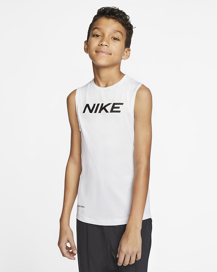 Nike Pro Big Kids\' (Boys\') Top White/Black
