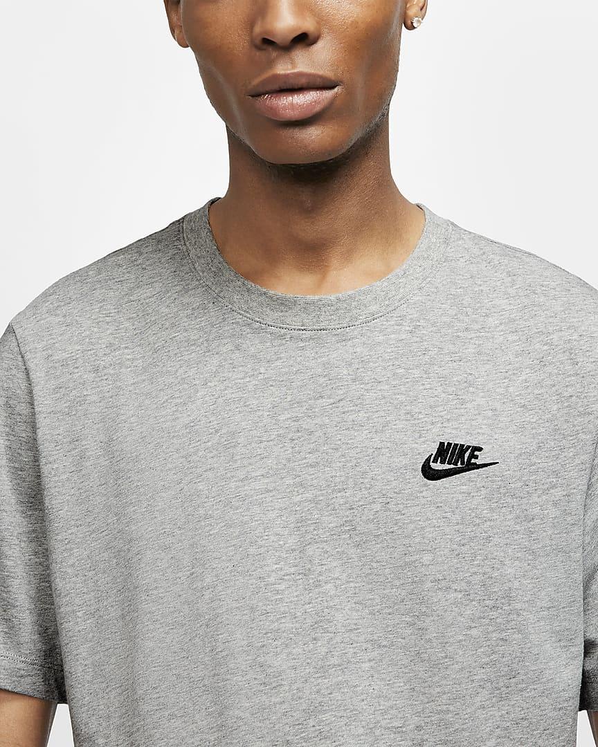 Nike Sportswear Club Men\'s T-Shirt Dark Grey Heather/Black