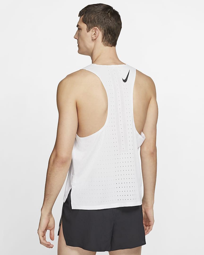 Nike AeroSwift Men\'s Running Singlet White/Black