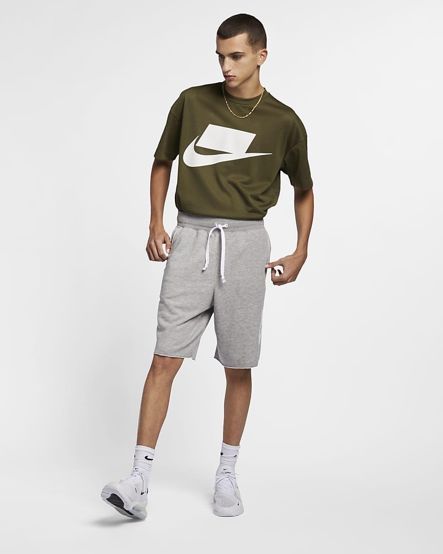Nike Sportswear Alumni Men\'s French Terry Shorts Dark Grey Heather/Dark Grey Heather/White/White