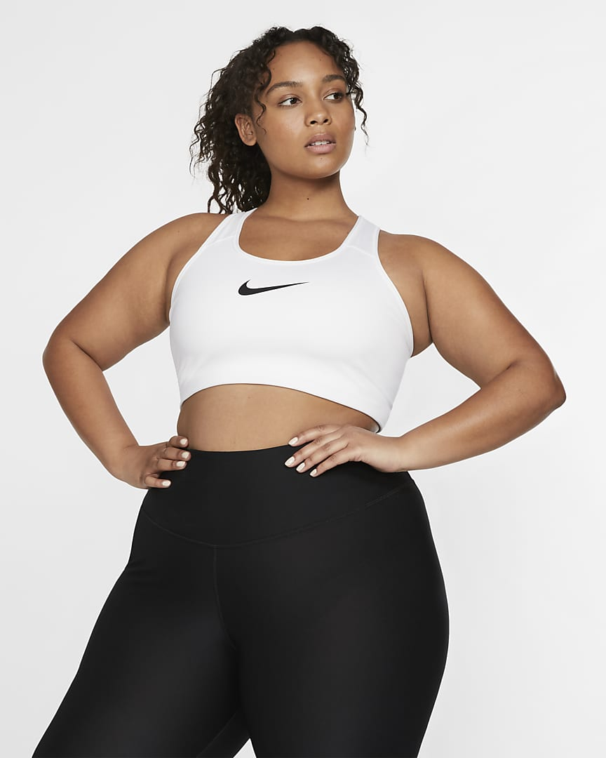 Nike Swoosh Women\'s Medium-Support Non-Padded Sports Bra (Plus Size) White/Black